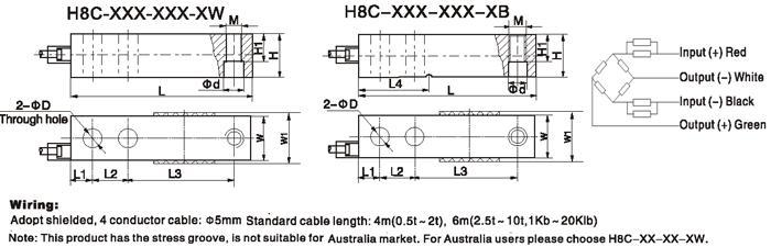H8C Тензодатчик размер