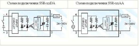 Схема подключения SSR-DA и SSR-AA